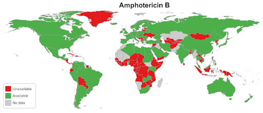 amphotericin worldwide availability