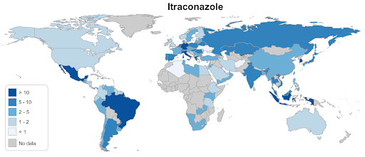 Number of generic formulations of itraconazole in each country worldwide